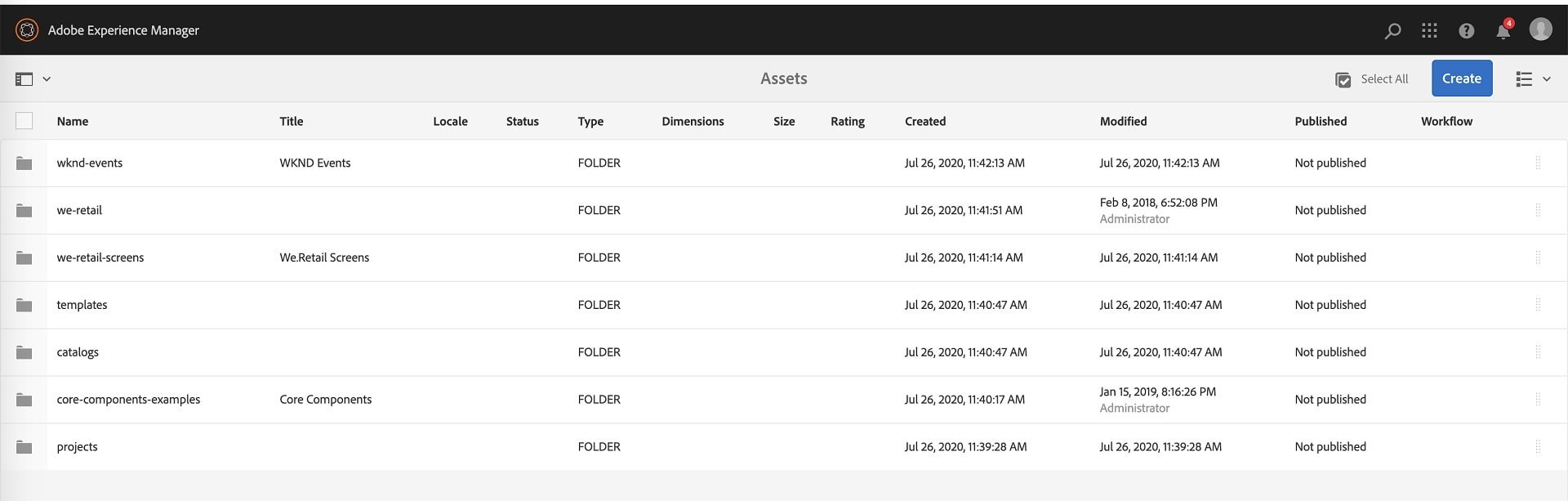 List view as default view in AEM
